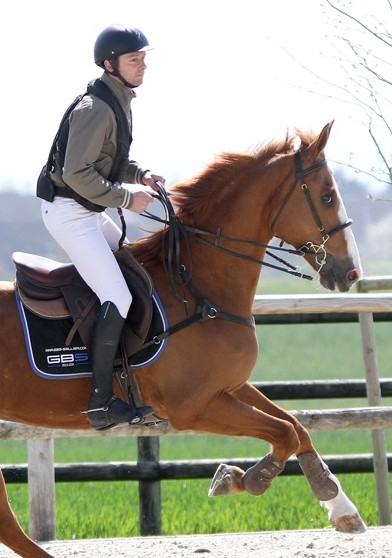 cavalier avec gilet airbag equitation hit air complet